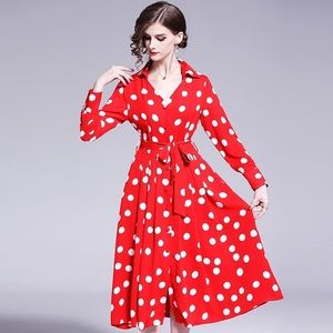 Women's red long sleeves white dots decor dress